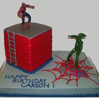 Spiderman With Building And Green Goblin   Buttercream icing with a wooden dowel used to make brick impressions on building. Figures are toys.