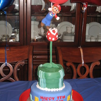 Mario Party did pirahna plant trying to eat mario (scene for video game) and on the bottom tier just classic mario video game back drop. all fondant,...