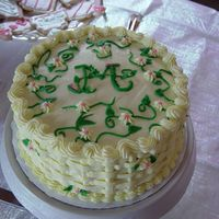 Yellow Monagram Bridal Shower Cake This was a bridal shower cake, done with basket weave and vines.
