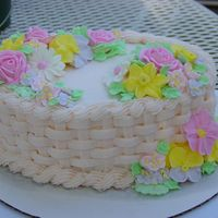 Course Ii Final Cake Basket weave with Royal icing flowers