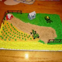 John Deere Farm Cake  A farm setting with John deere implements made for a 4 year old boys birthday. All buttercream, with basketweave on the sides, grass tip...