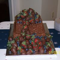Chocolate Basket Weave Grooms Cake I like the blue and red! I think it's really pretty together.