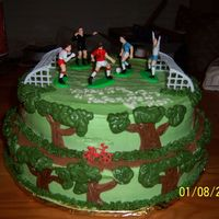Birthday Cake With Soccer And Bike Riding Trails. The mom said her son loves soccer and riding his bike on trails.. So I tried to incorporate the two into this cake.