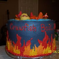 "Crawfish Boil Cake I made this for our 2007 crawfish boil at work. It has 4 layers and fondant crawfish. The corn on the cob and baby potatoe are ""ice..."