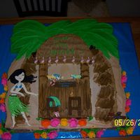 Luaua Themed Graduation Cake.. I had fun making this one. The Hula girl and flamingo's are out of royal icing. :)