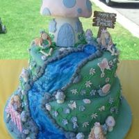 "Fairy Cake  12"" & 10"" confetti cake covered in fondant. Fondant butterflies, bees, mushrooms, snails, ladybugs and flowers. Toadstool (..."