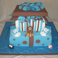 Leo's Baby Boy Shower Gift Cake Gift boxes with lion (baby's name will be Leo) and converse shoes (thanks to StellaStarChild for instructions and templates...they...