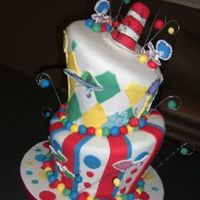 Dr. Seuss Topsy-Turvy  My third topsy-turvy and each time has been a learning experience. The top tier is chocolate and the bottom tier is WASC. Covered and...