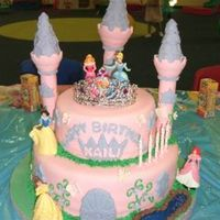 "Princess Castle Cake   A 12"" & 8"" chocolate cake covered in fondant with fondant details."