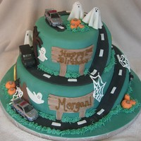 Halloween / Police Car Birthday   Client wanted a halloween scene with police cars -- this is what I came up with.