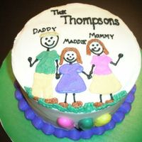 "Adoption Cake For my boss & family - he and his wife adopted her granddaughter and wanted ""a kid's stick-figure drawing"" to celebrate..."