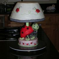 Ladybug Lamp Cake Shower for a friend at work. Based on a lamp from her registry. Meant to put a black& white ribbon on top but ran out of time! Ladybug...