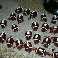Football Cake Balls Yes, they're pretty sloppy, but I just threw these together for tonight's tailgaiting. Chocolate with peanutbutter...even though...