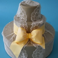 Sugarveil Lace Cake 100% Edible lace and bow decorations made with SugarVeil
