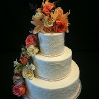 Crotts Embossed Buttercream, with fresh flowers, Sizes 12, 8, 5