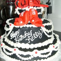 Lady 40Th Birthday This black, white and red cake was done with buttercreme and the shows ad bow are fondant. It was my first tiered cake and was a big hit at...