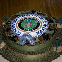 Military Cake This cake is a military cake with edible image military logo, fondant dog tags and camo buttercream. The person who ordered the cake wanted...