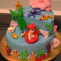 Little Mermaid All characters are fondant - coral is sugar or chocolate and little mermaid is plastic