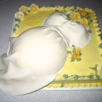"Mommy To Be Belly My first attempt at the ""Belly Cake"" Too much yellow but still turned out pretty good. I used MMF for the roses and the dress and..."