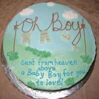Oh Boy Baby Shower Cake  This is my version of the oh so famous clothes line cake. I wanted to use both blue and green frosting so I tried not blend it to much. I...