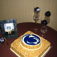 Penn State Cake...frosting Fiasco For sister-in-law's wedding which was out of town, I decided to assemble and decorate there. Took everything to in-laws the night...