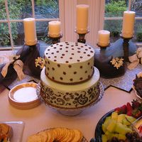 Paisley Sister-In-laws bridal shower cake. Italian buttercream cake. Her colors were blue and brown and the invites had paisleys and polka dots on...