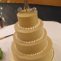 Champagne With Swiss Dots Champagne colored buttercream with swiss dots. 16, 12, 9, 6 inch rounds. Thanks for looking!