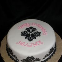 Damask Birthday Cake MMF with Buttercream stencil and writing. My first try with the damask stencil. I have a lot to learn about it but I think once I do I&#039...