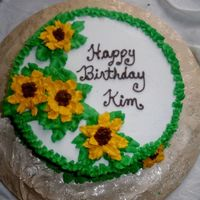 Sunflower Birthday This was an impromptu birthday cake for a friend. My first try with the bc sunfowers. They turned out alright.