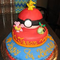 Pokemon Layered Birthday Cake Layered cake iced with buttercream. Fondant was used to cover the Pokie ball and use to decorate the base of the cakes. The characters are...