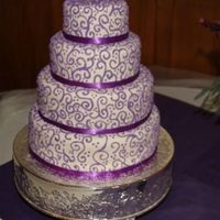 "Ivory Fondant With Purple Scroll Work Thank you antonia74 for you inspiration. As soon as my bf saw your cake, she knew it was the one for her. I used 6"", 9"", 12&quot..."