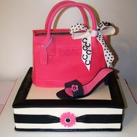 Coach Purse & High Heel Shoe Cake coach purse & shoe cake for a 30th b-day party. This was so much fun to make. Gumpast handles& gerbera daisy. Fondant purse body &...