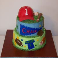 First Birthday Sports Cake This cake was for a sports loving family, whose little boy was turning one. I made a matching little smash cake that I forgot to take a...