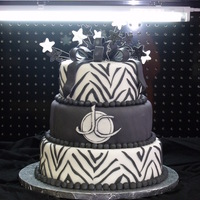 Black And White Zebra Stripe Cake I did this cake for a local salon's first anniversary celebration.