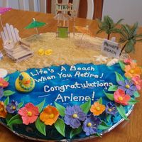"Life's A Beach When You Retire! 18"" round cake with a beach/ocean scene. Made this for a friend's mother when she retired recently."