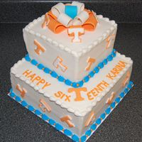 Tennessee Vols  This cake was made for the 16th birthday of a Tennessee fan. Bottom tier was french vanilla cake tinted orange, top tier was orange...