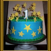 Boy's First Birthday Buttercream icing with fondant accents.