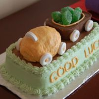 Going Away Cake I made this cake for a friend who will be moving to Medicine Hat. It is a chocolate cake with a vanilla pudding filling. The wagon is made...