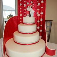 Tiered Wedding Cake - Not Edible This is cake is covered in fondant and is not edible. The shower of flowers are made of fondant too. The cake plate is covered in fondant...