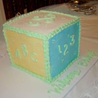 Baby Block Eight layers with buttercream filling. For a friend's baby shower. Baby's initials on top. Colors matched invitation.