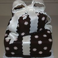 Stacked Gift Box Birthday Cake Chocolate fondant with fondant bow & embellishments.