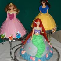 Princess Cakes For my daughter's 5th birthday we had a princess tea party and these are the cakes I made for her. These are her favorite 3 princesses...