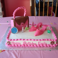 "Purse And Shoes This is a cake I made for an 8 year olds ""Spa"" Birthday party. The purse and shoes were all made from gumpaste."