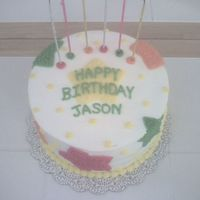 Birthday Cake   WASC cake filled with white chocolate pudding. Found the design in a Wilton beginner's book.