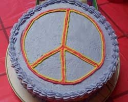 Peace Cake My daughters 10th B-day was a 60's retro party. I created this peace cake for her. This is of the top