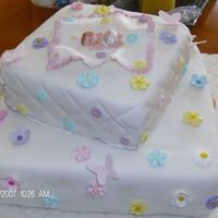 Daughters Baby Shower Cake Made with fondant and royal icing for the flowers