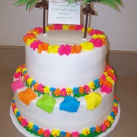 Hawaiian Baby Shower   Baby shower cake made for 5 friends. Butter cream with fondant accents and plastic tree.