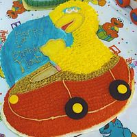 Big Bird   All bc icing the wheels are oreo cookie and the steering wheel is candy.