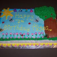 A Day At The Park This was a full sheet cake. The tree trunk is the cut off part of the cake(The hump), under the green leaves are mini cupcakes and the sun...