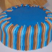 Stripes carrot cake with orange cream cheese icing---YUMMY! i used the playdoh extruder for the stripes. next time i would cover the whole cake in...